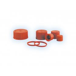 Ausgießringe und Schraubkappen rot für Laborflaschen