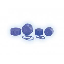 Ausgießringe und Schraubkappen blau für Laborflaschen